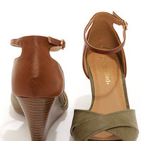 City Classified Missy Khaki and Tan Peep Toe Wedge Sandals
