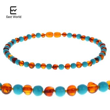 EAST WORLD 12''--24'' Natural Cognac Amber Necklace Turquoise Knotted Baltic Amber Mother Baby Ambar Jewelry Diy Adult Necklace