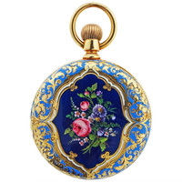 Tiffany & Co. Yellow Gold and Enamel Pocket Watch circa 1900
