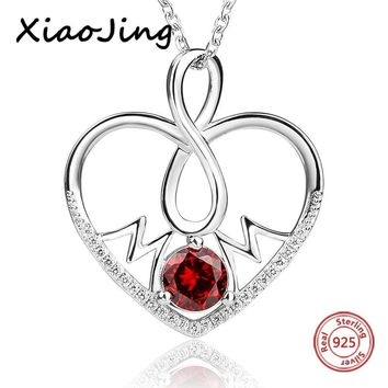 New arrival 925 sterling silver love heart shape pendant chain necklace with Zirconia diy fashion jewelry making for girl gifts