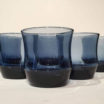 Blue Glass Tumblers Set (6), Rocks Glasses, Mid Century Dusky Blue Glasses, Libbey Apollo Blue Rock Sharpe Glasses, Whiskey Scotch Glasses