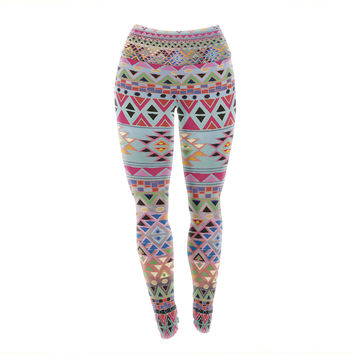 "Nika Martinez ""Tribal Native"" Red Pattern Yoga Leggings"