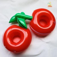 New Design Inflatable Red Apple Cola Beverage Cup Glass Holder Drink Pool Party Floating