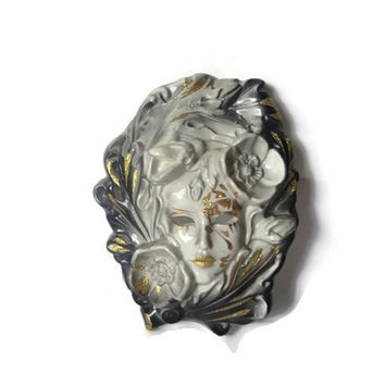 Vintage porcelain wall hanging venetian festival mask. Gold trimmed ceramic Italian mask. Floral. Ready to hang.