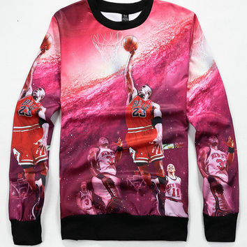 Red Emoji NBA Star Michael Jordan Lore 3D Print Long Sleeve Sweater