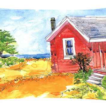 Old Red Cottage House at the lake or Beach Decorative   Canvas Fabric Pillow