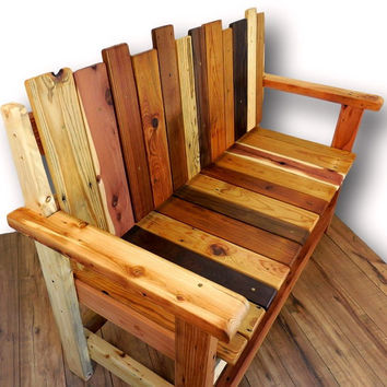 Reclaimed Wood Bench, Rustic Wood Bench, Salvaged lumber settee, Barnwood Furniture, Rustic wood furniture, Modern rustic