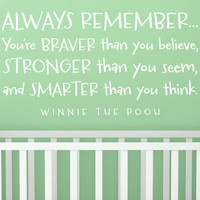 "Wall Vinyl Quote - ""Always Remember..."" Winnie the Pooh"