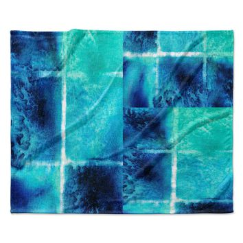 "Nina May ""Saltwater Study"" Teal Blue Fleece Throw Blanket"