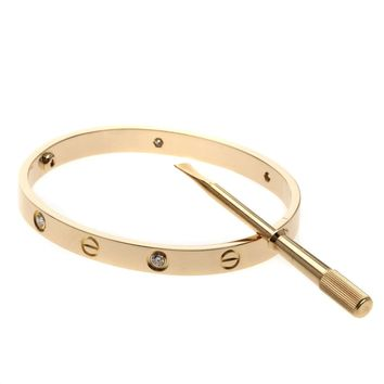 CARTIER Bracelet Love Breath Half with Diamond Driver # 17 18K Pink Gold