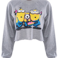 "ROMWE | The Minion of ""Despicable Me"" Print Grey T-shirt, The Latest Street Fashion"