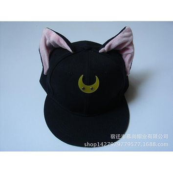 Sailor Moon Cat Luna Cosplay Hip-hop Hat Japanese Anime Pretty Guardian Baseball Cap With Flat-brim Costume