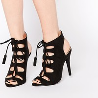 London Rebel Ghillie Lace Up Heeled Sandals at asos.com