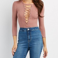 Ribbed Lace-Up Detail Bodysuit