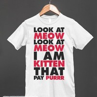 Look At Meow-Unisex White T-Shirt