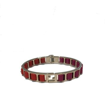 Fendi Fuschia and Orange and Calfskin Leather and Metal Bracelet
