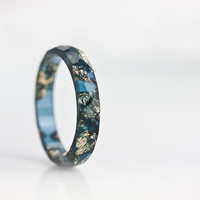 Midnight Blue Resin Stacking Ring Gold Flakes Thin Faceted Ring OOAK saphire navy blue glam minimalist jewelry deep blue rusteam