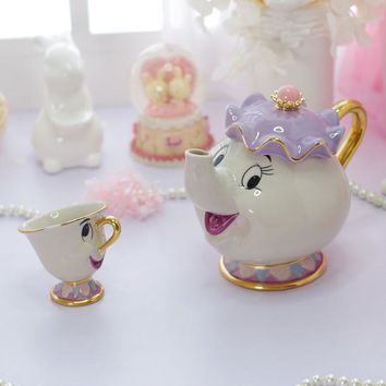 Beauty And The Beast Tea Set Mrs Potts Chip Teapot Cup Ceramic Coffee Teaset Valentine's Day Gift [1 Pot + 1 Cup + 1 Sugar Bowl]