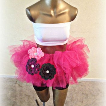 Adult tutu, mini tutu, fuchsia, edc outfit, rave raver tutu, color run, gogo dancer, adult tulle skirt, plur clothes plur outfits