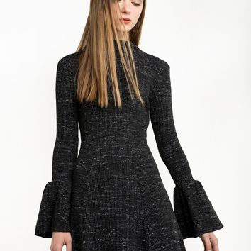 Grey Marle Ribbed Bell Sleeve Dress