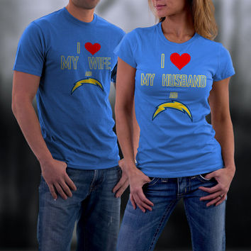 Chargers,San Diego Chargers Couples Shirt,  Chargers Matching Couples tshirts,I love my Husband and the Chargers Shirt,Wedding T Shirts