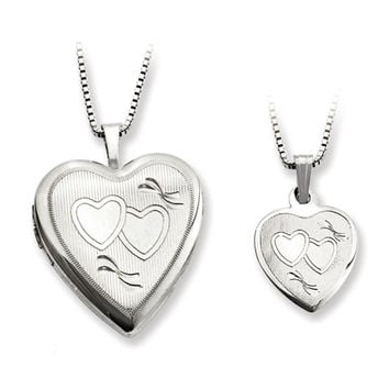 925 Sterling Silver Textured Double Heart Mother Daughter Necklace Set
