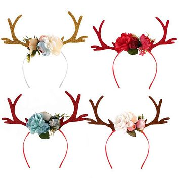 New Lovely Kids Christmas Flower Headbands Baby Party Hair Bands Children Hair Accessories Girls Headdress Head wear