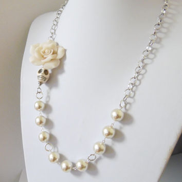 Ivory Sugar Skull Necklace Day Of The Dead Necklace Wedding Jewelry Offset Rose