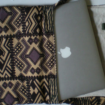 """13""""Macbook Air messenger bag fabric laptop bag tribal pattern earth tones eco-friendly adjustable strap cross body free domestic shipping"""