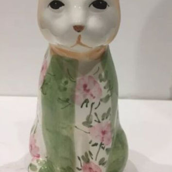 Vintage Country Rose Porcelain Cat Figure By Seymour Mann HandPainted Pink Roses