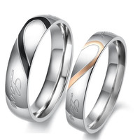 "Lover's Heart Shape Titanium Stainless Steel Mens Ladies Promise Ring ""Real Love"" Couple Wedding Bands One Piece price"