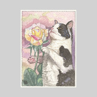 ACEO Tuxedo Cat and Rose by D.Demetri
