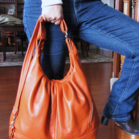 Orange Leather Pack Bag- 3 Way Convertible Bag- Best Backpack- Over Shoulder Bag