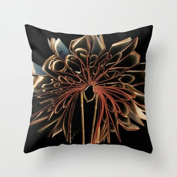 Book Flower Throw Pillow by Nicklas Gustafsson