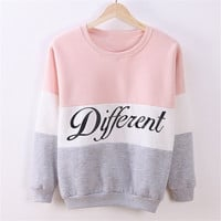 Women Fashion Spell Color Letters Print Long Sleeve Sweatshirt 4 Colors