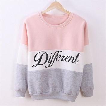 Women Fashion Spell Color Letters Print Long Sleeve Sweatshirt 4 Colors = 1920243524