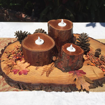 Thanksgiving and Christmas Decor, Holiday Centerpiece 3 PC Tree Stump Candle Holders, Rustic Decor Metallic Copper & Wood, Holiday Gift Idea