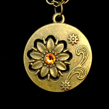 Bronze flower and topaz Swarovski  crystal medallion pendant necklace