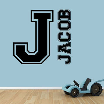 Personalized varsity name and initial Vinyl Decal