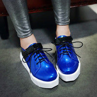 Patent Leather Women Wedges Lace Up Platform Shoes
