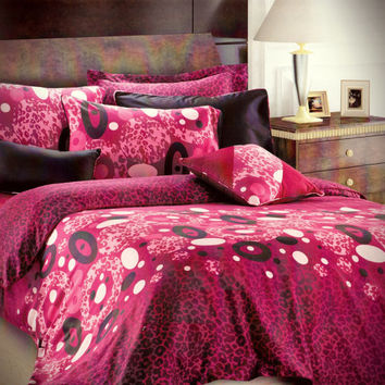 Custom Queen or Full Size Wine, Burgundy, Dark Pink, Purple, Black Polka Dot and Leopard Printed Satin Duvet Cover Set, 3 pieces