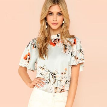 Elegant Floral Print Blouse Women Flounce Sleeve Satin Blouses Casual Stand Collar Keyhole Back Button Top