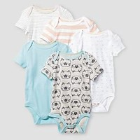 Baby Boys' Short-Sleeve 5 Pack Bodysuit Baby Cat & Jack™ - Turquoise/White/Grey/Orange : Target