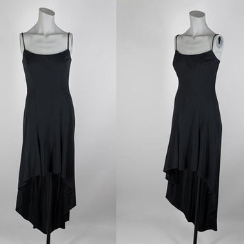 SALE Vintage 90s Dress / 1990s Minimalist Black Fishtail Dress XS S