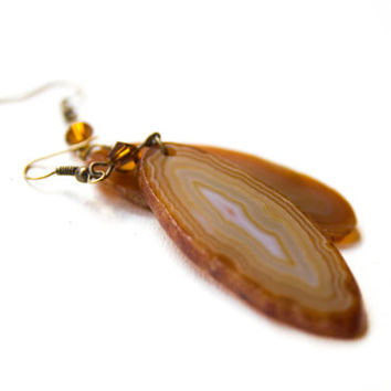 Brown agate rock earrings