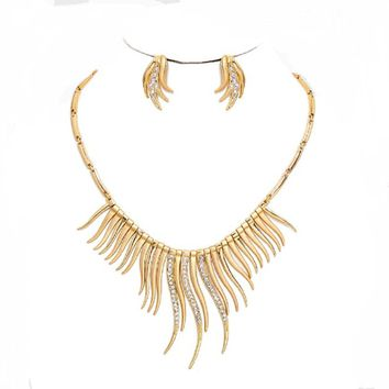 Statement Gold Design Spike Fringe Crystal Link Chain Necklace Stud Earrings Set Jewelry