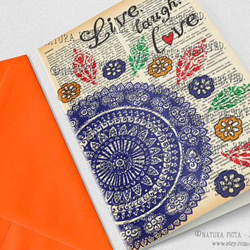 Hand-drawn mandala Greeting Card-Live laugh love card-4x6 card-Birthday card-mandala card-Dictionary quote card-design NATURA PICTA NPGC085