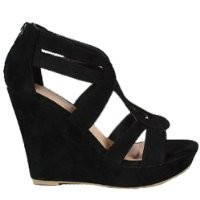 Strappy Open Toe Platform Wedge,Lindy-03 Black 8
