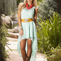 Laced with Brilliance High Low Dress Mint