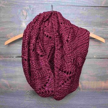 MDIGON1O knit leaf pattern infinity scarf (more colors) Day First